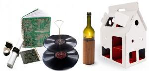 Brave Flower - Schallplatten-Etagere, Flaschen-Windlichte, Pappspielhaus, Platinen-Notizbuch, Tafel-Serviettenringe