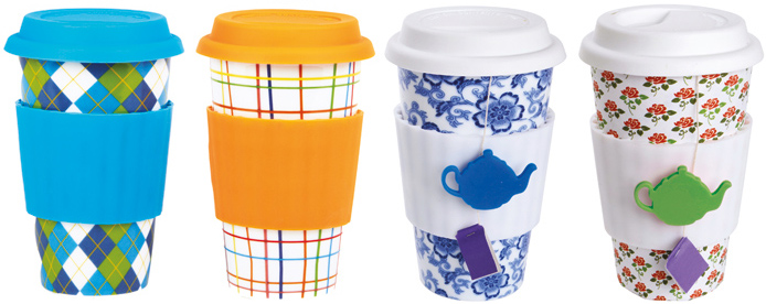 Eco-Cups, Coffee-to-Go-Becher aus Keramik mit Silikonband als Wärmeschutz